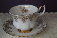ROYAL ALBERT TEA CUP AND SAUCER - CONGRATULATIONS 50TH ANNIVERSARY - GOLD LACE