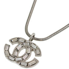Chanel Rhinestone C Logo Design Necklace in Silver Plated D5435