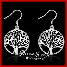 925 Sterling Silver Filled Tree of Life Leaf Solid Timeless Dangle Earrings Gift