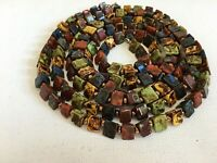 Vintage Scottish Glass Agate Pyramid Beads Flapper Murano Venetian Necklace 52""