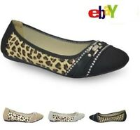 UK Ladies Womens Ballerina Ballet Dolly Pumps Flat Summer Cheetah New Shoes 3-8