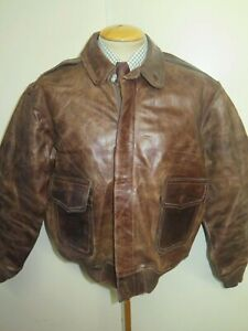 "Vintage Genuine Cirrus Leather A2 Flight Bomber Jacket XL 46"" Euro 56 - Brown"