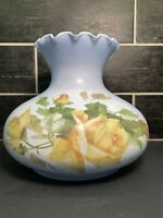 VTG Blue Floral Hurricane Lamp Shade Glass ruffle edge GWTW Flowers ROSES Signed