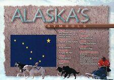 Symbols of Alaska, Flag Fish Sport Dog Mushing Native American People - Postcard