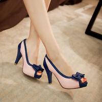 US4-11 fashion ladies peep toe bowknot block color heels platform party pump New