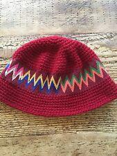 Red Colorful Crochet Hippie Rasta Beanie Hat Cap