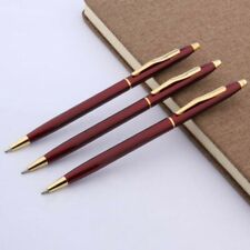 3pcs Red Lacquerred Golden Trim Twist Metal Ballpoint Pen