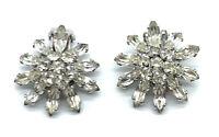 Vintage Sherman Earrings Clear Rhinestone Snowflake Flower Rhodium Plated Clips
