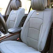 Leatherette Auto Seat Covers Cushion Pad Front Buckets SUV Sedan Van Solid Gray