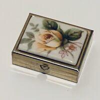 Vintage Small Pill Box Floral Purple White Green Silver Tone Metal Trinket Box