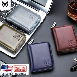 Men's Leather Trifold Wallet ID Card Holder Purse RFID Blocking Clutch Coin Clip