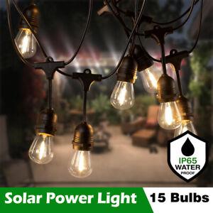 Outdoor Solar String Lights 15 LED S14 Bulbs Waterproof Xmas Garden Party Decor
