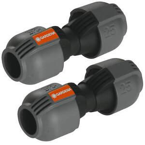 """2x GARDENA Sprinklersystem Verbinder 25mm -> 25mm 1"""" Verbindung Rohrverlängerung"""