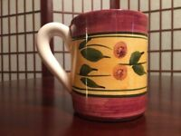 """Floral Design Burgundy Gold and Green 4"""" Height Coffee Mug Made in Portugal"""