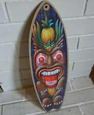 TIKI STATUE PINEAPPLE WELCOME Rustic Beach Bar Surfboard Home Decor Sign - NEW