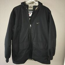 Vtg 90s Women's Nike Parka Puff Jacket Size S 4-6 Logo Spell Out Swoosh 90s
