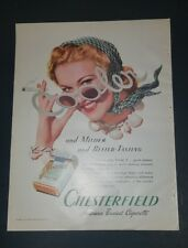 """1940 Chesterfield Cigarettes Vintage Magazine Ad """"Milder and Better Tasting"""""""