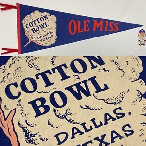Vintage Ole Miss Rebels Mississippi University Pennant 12x29.75 Football Cotton