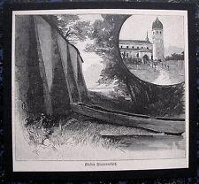 CHIEMSEE. Kloster Frauenchiemsee, Frauenwörth. Orig. Holzstich von 1890