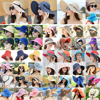 Women's Big Wide Brim Straw Hats Summer Holiday Beach Sun Floppy Derby Caps New