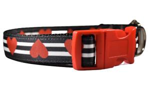 Hearts and stripes Adjustable Handmade Dog Collar Red Girl Medium Large