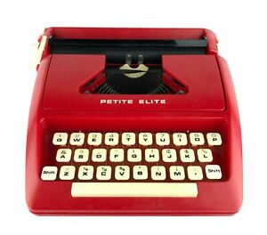Vintage 1978 Petite Elite Typewriter RED Lightweight England T 4431 Rare As Is