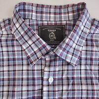 Makers Co. Men's Button Up Shirt Short Sleeve Size Large Plaid Blue Pink