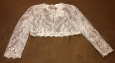 New Davids Bridal White Tulle 3/4 Sleeve Lace Gown Crop Jacket size 4 Wedding