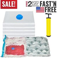 6 JUMBO VACUUM Storage Bags Space Saver Garment Seal Bags + FREE Pump