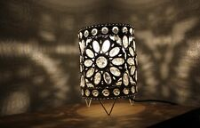 Small Table Lamp Stunning White Moroccan Style Jeweled Cutwork Lamp white beads
