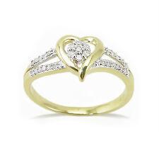 10K Yellow Gold Diamond Heart Ring Diamond Cluster Split Band Ring  .12ct