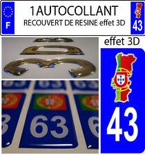 2 stickers plaque immatriculation auto DOMING 3D RESINE CARTE PORTUGAL DEPA 43