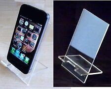 10 x Large Clear Acrylic Desktop Mobile Phone Stand (12cm x6.5cm Rest Area)