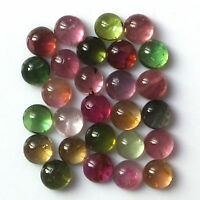 100% Natural 5 mm Multi Color Tourmaline Round Cabochon Loose Gemstone