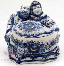 Gzhel Porcelain fairy tale Kurochka Ryaba Курочка Ряба Trinket box Figurine