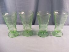 Set of 4 Htf Federal Green Depression Glass Patrician Spoke Footed Tumblers