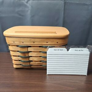Longaberger Recipe Basket With Lid and Recipe Cards