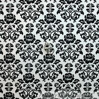 BonEful Fabric FQ Cotton Quilt White Black B&W Red Rose Flower Damask Bouquet US