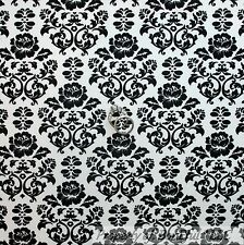 BonEful Fabric Cotton Quilt White Black Rose Flower Damask Old Shabby Chic SCRAP