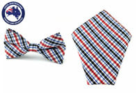 Men's Red Blue White Gingham Bow Tie & Pocket Square Grooms Wedding Bowtie Hanky
