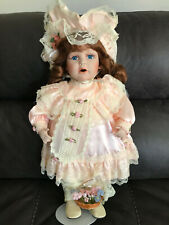 """18"""" Porcelain Garden Party Doll with Flower Basket and Stand"""