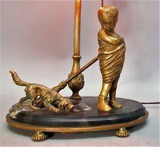Unique Antique ITALIAN MARBLE Lamp w/ Gilt Brass Dog & Child  c. 1920  antique