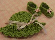 Handmade Crochet Baby Girl Hat, Booties Set- Moss Green & Pink Newborn 3 Months