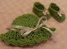 Handmade Crochet Baby Girl Hat, Booties Set- Moss Green & Pink Newborn 3 Months