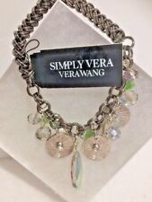 Vera Wang Stretchy Bracelet Crystals Pewter Green Beads Womens