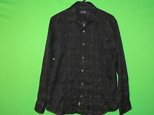 Nat Nast Men's Size S Small 100% Cotton Black Geometric Long Slv Button Shirt