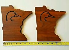 Duck Unlimited Minnesota Carved Solid Natural Wood Plaques Lot of 2
