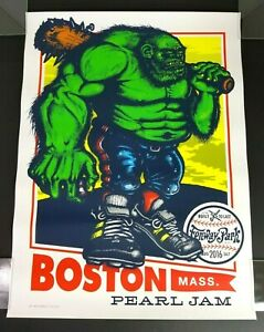 Pearl Jam 2016 Fenway Park Boston Concert Poster Ames Bros. Green Monster
