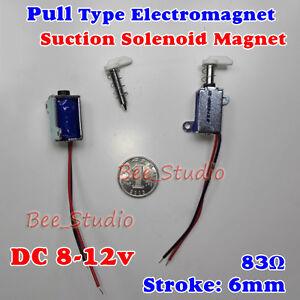DC 12V Push Pull Type Mini Solenoid Electromagnet Micro Suction Spring Rod