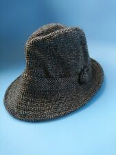 Vintage Harris Tweed Trilby Hat Size Approx Small S XS 53cm Herringbone